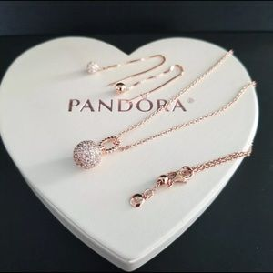 Authentic pandora rose gold tone earrings,necklace